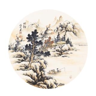 国礼艺术家 张利小尺寸山水画作品《秋钓》