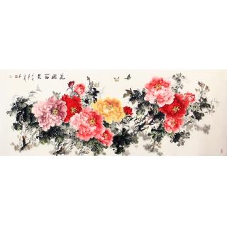 【已售】家居挂画 张利六尺牡丹图《花开富贵》