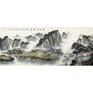 【已售】张利新品八尺横幅山水画《春山溪水长》