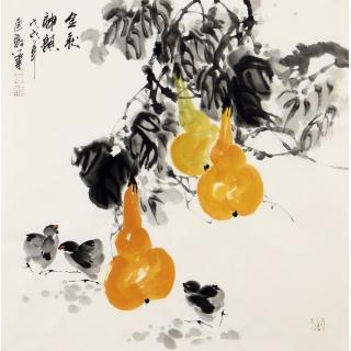 【已售】当代实力派画家石云轩四尺斗方写意葫芦图《金秋神韵》