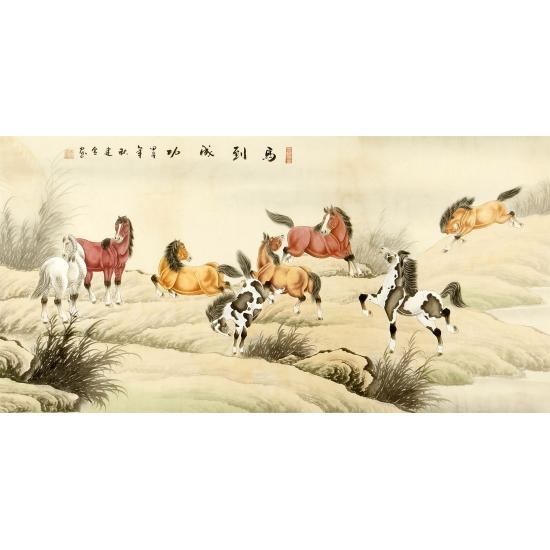 实力派画家王建金四尺工笔动物画《马到成功》