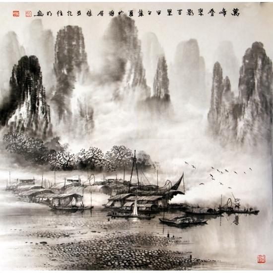 实力派画家莫桂明四尺斗方水墨山水画《万峰叠翠影百里》
