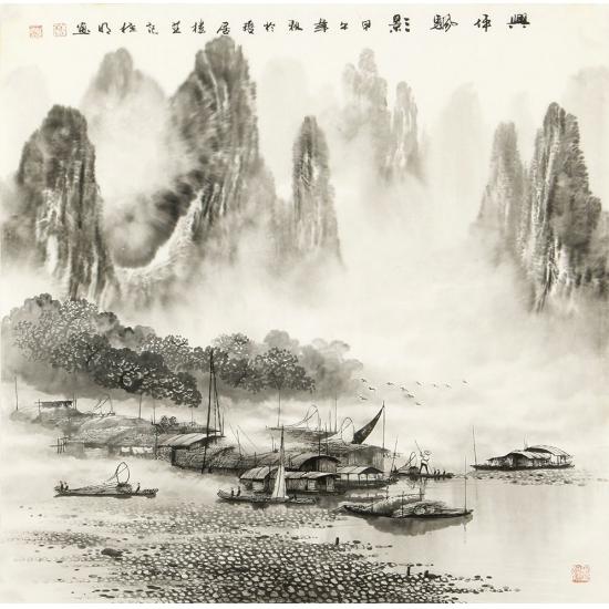 名人字画 莫桂明四尺斗方漓江山水画《兴坪颿影》