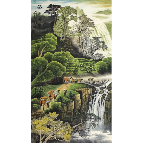 陈厚刚六尺竖幅山水画作品《江山锦绣谱华章》
