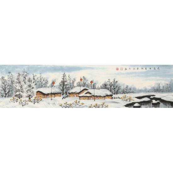 冯国钢最新力作四尺对开冰雪山水画作品《塞外风情》