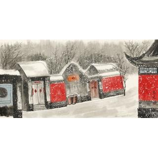 【已售】东美四尺横幅国画山水画作品《瑞雪京城》