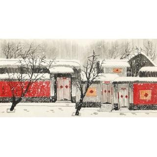 【已售】老北京胡同 东美四尺横幅国画山水画作品《瑞雪》