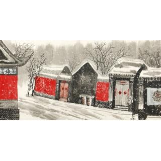 北京八大胡同 东美四尺横幅国画山水画作品《古城冬韵》