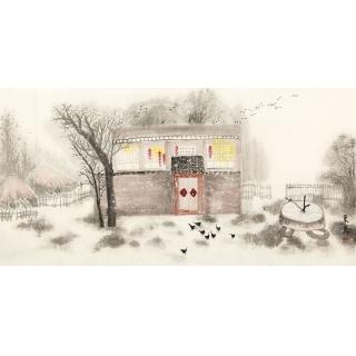 东美四尺横幅国画山水画作品《冬》