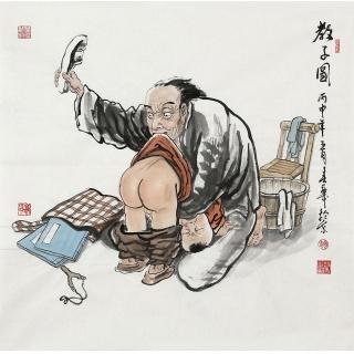 【已售】赵春华四尺斗方人物画《教子图》