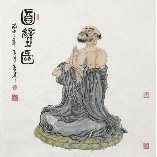 【已售】实力派画家赵春华四尺斗方人物画《百壁图》