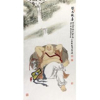 赵春华三尺竖幅佛像人物画作品《皆大欢喜》