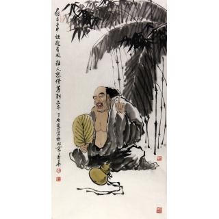 赵春华三尺竖幅人物画《扇在手中 摇起有风 谁人想借 等到立冬》