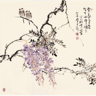 国画紫藤图 王占海写意花鸟画作品《紫气东来》