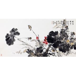 【已售】王占海四尺横幅花鸟画国画荷花《荷塘秋雨》