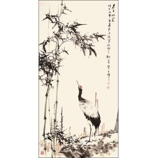 【已售】王占海四尺竖幅花鸟作品《君子风范》