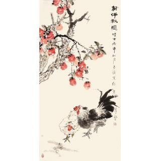 【已售】王占海四尺竖幅花鸟作品《相伴秋风》