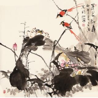 【已售】王占海四尺斗方花鸟作品《莲花红寿》