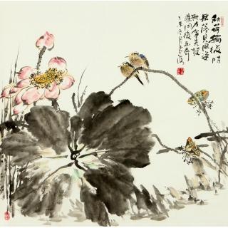 【已售】王占海四尺斗方花鸟作品《秋荷独后时 摇落见风姿》