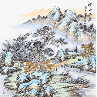 仿古斗方山水画 阎宝珍最新力作国画《溪山幽居》