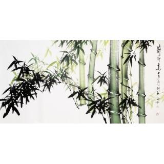【已售】吴山雨四尺横幅竹子画《节节高》