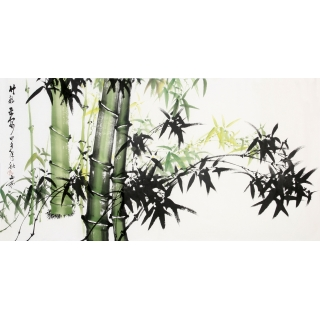 【已售】吴山雨四尺横幅竹子画《竹报平安》