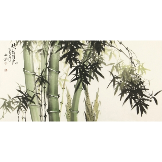 吴山雨四尺横幅国画竹子图《竹裡清风》