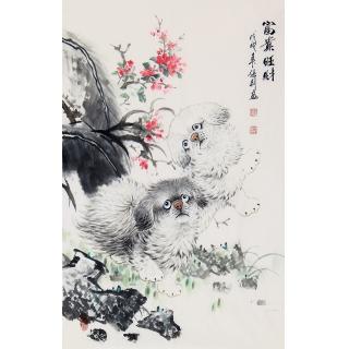 张利新品写意动物画国画狗作品《富贵旺财》