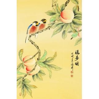 【已售】祝寿图 张利花鸟画新品佳作《福寿图》