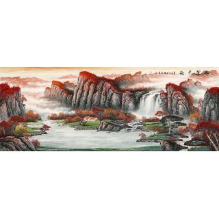 【已售】书画国礼艺术家 张利最新力作山水画作品《鸿运千秋》