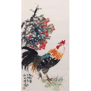 郭晓峰三尺竖幅写意花鸟画《吉利图》