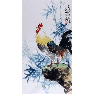 书画名家 郭晓峰三尺竖幅写意花鸟画《大吉图》