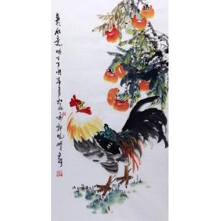 实力派画家郭晓峰三尺竖幅写意花鸟画《事事如意》