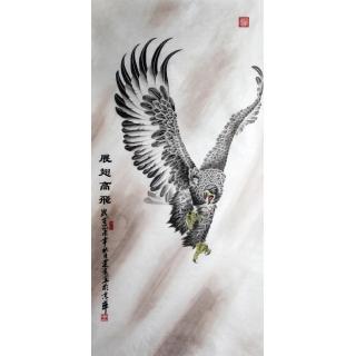 【已售】王建金四尺竖幅雄鹰图《展翅高飞》