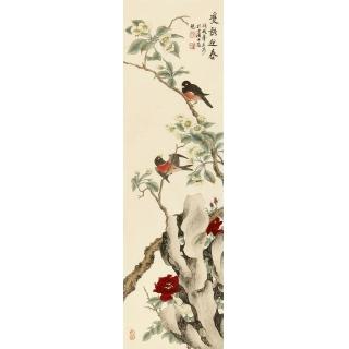 湖北美协 徐文涛新品国画花鸟画《双语迎春》