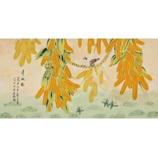 中央美院 凌雪四尺工笔画花鸟画《丰收图》