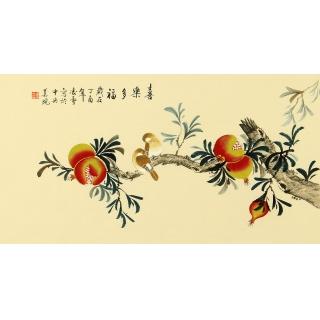 【已售】北京美协 凌雪新品果蔬图《喜乐多福》