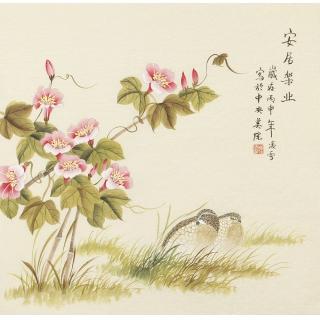 北京美协会员凌雪斗方工笔《安居乐业》