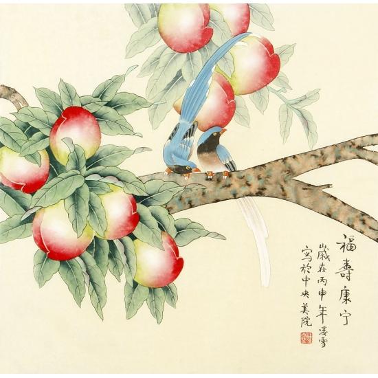 【已售】祝寿图 北京美协 凌雪斗方花鸟画《福寿康宁》