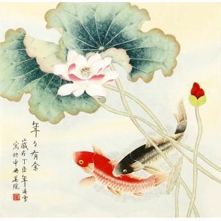 北京美协凌雪四尺斗方工笔花鸟画《年年有余》