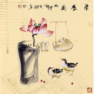 实力派画家阳瑞萍写意花鸟斗方《清香图》