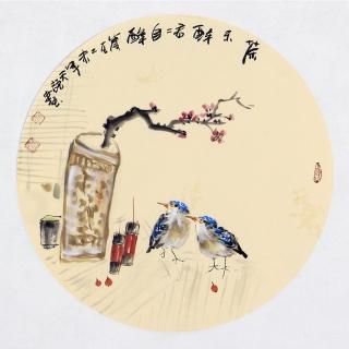 实力派画家阳瑞萍写意花鸟团扇《茶不醉君君自醉》