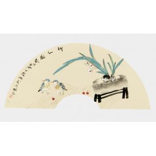 实力派画家阳瑞萍写意花鸟扇面《神仙图》