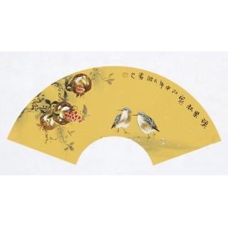 实力派画家阳瑞萍写意花鸟扇面《硕果秋实》