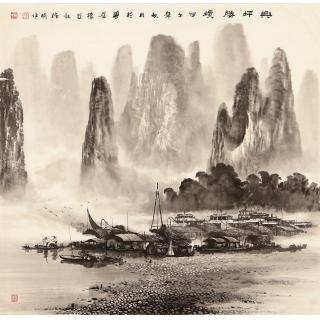 实力派画家莫桂明四尺斗方水墨山水画《兴坪胜境》