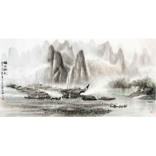 【已售】莫桂明四尺横幅漓江水墨山水画《漓江颿影》