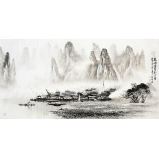 【已售】莫桂明四尺横幅漓江山水《万峰叠翠影百里》