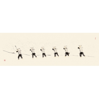 老愚四尺对开人物画《雪中行旅》
