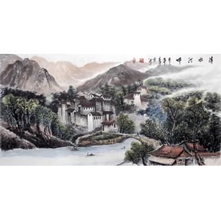河北美协刘京河四尺山水画《清水河畔》