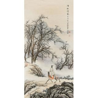 一级美术师 张天成三尺竖幅山水画《清秋晴嵐》